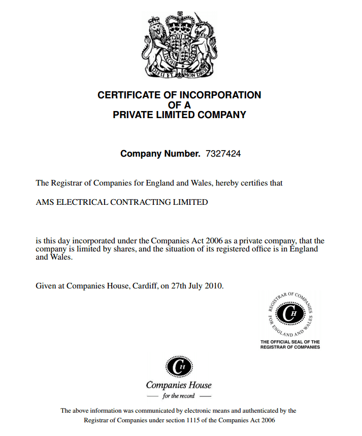 AMS Electrical's certificate of incorporation - the link leads to certificate-of-incorporation.pdf